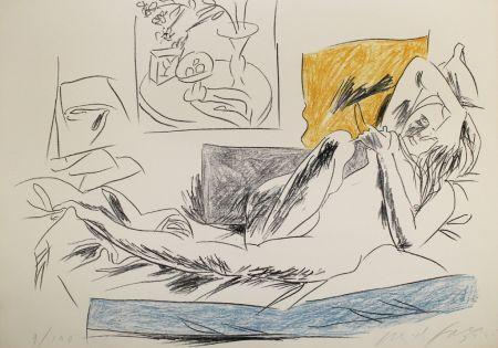 リトグラフ Fazzini - Reading Nude