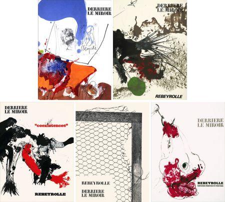 挿絵入り本 Rebeyrolle - REBEYROLLE : Collection complète des 5 volumes de la revue DERRIÈRE LE MIROIR consacrés à Paul Rebeyrolle (parus de 1967 à 1976). 32 LITHOGRAPHIES ORIGINALES.