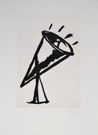 リノリウム彫版 Kentridge - Rebus Megaphone