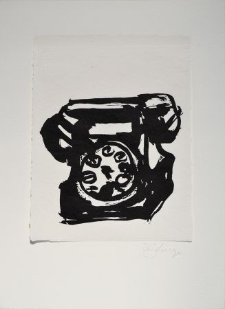 リノリウム彫版 Kentridge - Rebus Telephone