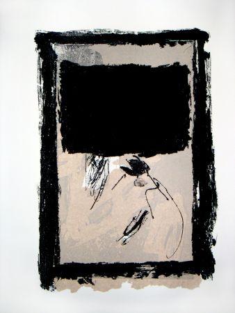 彫版 Tapies - Rectangle Noir Et Collage