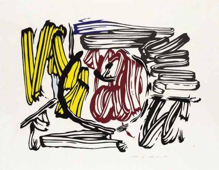 木版 Lichtenstein - Red & Yellow Apple