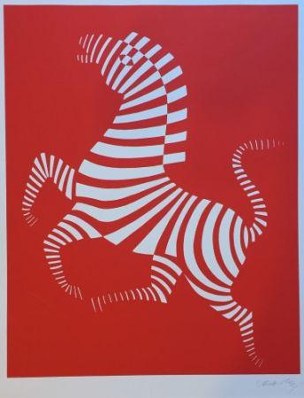 シルクスクリーン Vasarely - Red zebra