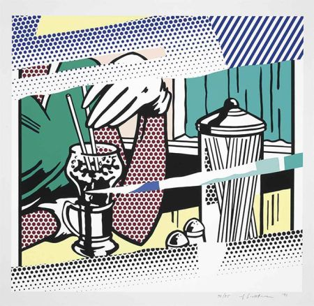 シルクスクリーン Lichtenstein - Reflections On Soda Fountain