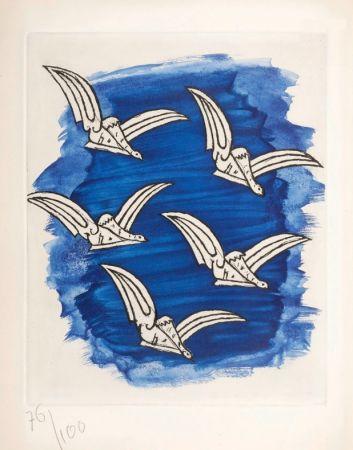 挿絵入り本 Braque - René Char : LA BIBLIOTHÈQUE EST EN FEU. Avec une gravure originale de Georges Braque. 1956.