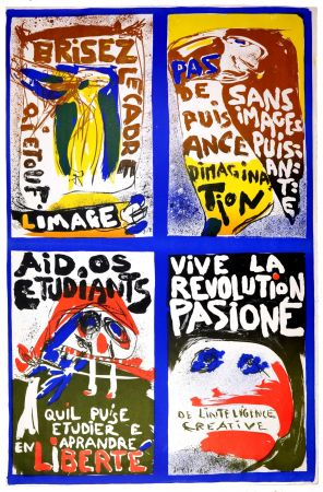 リトグラフ Jorn - (Revolution plakat)