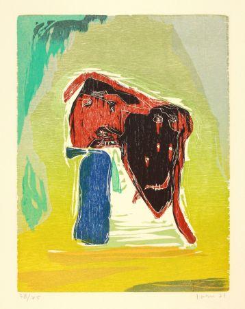木版 Jorn - Rideau convolant