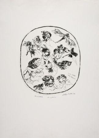 エッチング Piacesi - Rose e libellula