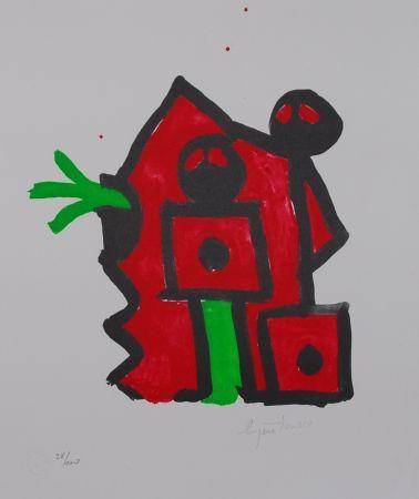 リトグラフ Ionesco - Rouge au noir
