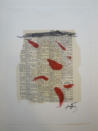 リトグラフ Tàpies - Rouge sur papier journal