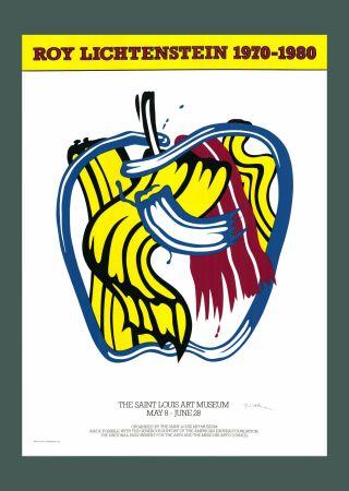 シルクスクリーン Lichtenstein - Roy Lichtenstein 'Apple' 1981 Hand Signed Original Pop Art Poster with COA