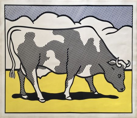 シルクスクリーン Lichtenstein - Roy Lichtenstein 'Cow Going Abstract' 1982 Hand Signed Original Pop Art Diptych Poster Set