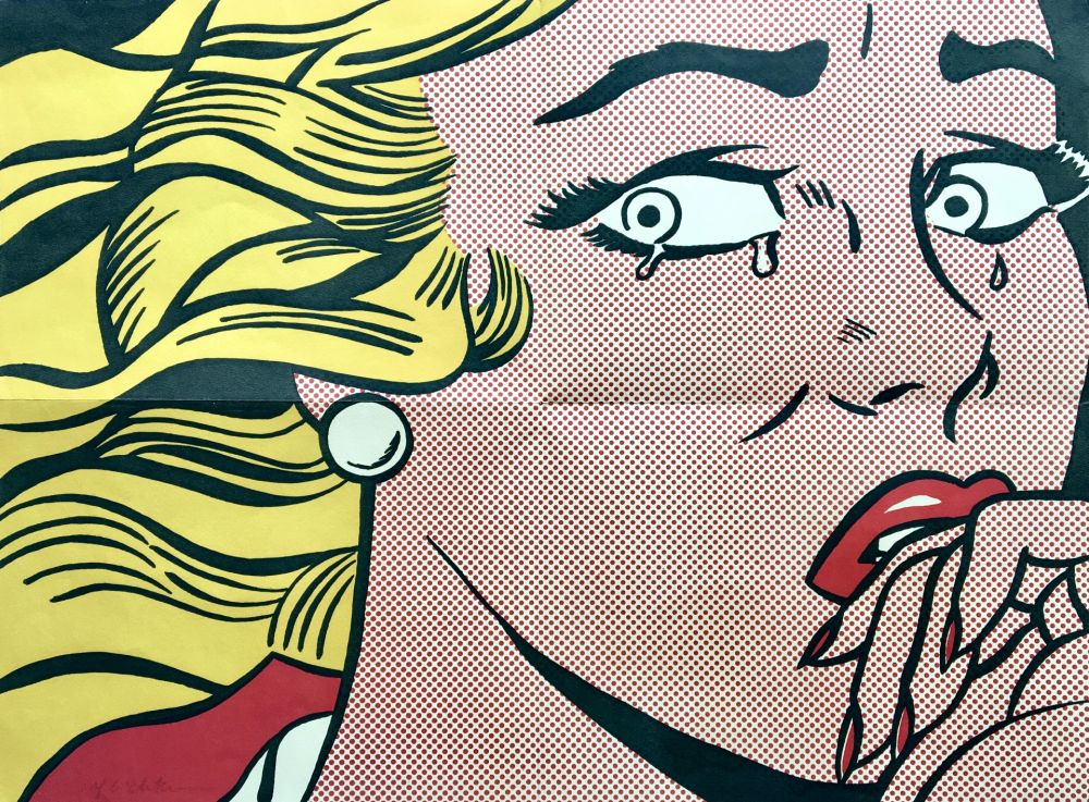 リトグラフ Lichtenstein - Roy Lichtenstein 'Crying Girl (Castelli Mailer)' 1963 Hand Signed Original Pop Art Poster