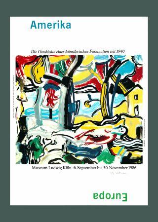 リトグラフ Lichtenstein - Roy Lichtenstein 'Figures in Landscape (Amerika/Europa)', Original Pop Art Poster, Hand Signed, 1986