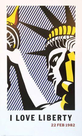 リトグラフ Lichtenstein - Roy Lichtenstein 'I Love Liberty' 1982 riginal Pop Art Poster with COA
