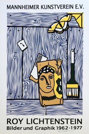 リトグラフ Lichtenstein - Roy Lichtenstein 'Léger Head with Paintbrush' 1977 Hand Signed Original Pop Art Poster with COA