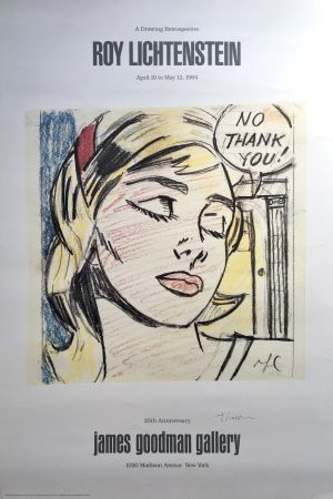 リトグラフ Lichtenstein - Roy Lichtenstein 'No Thank You!' 1984 Hand Signed Original Pop Art Poster