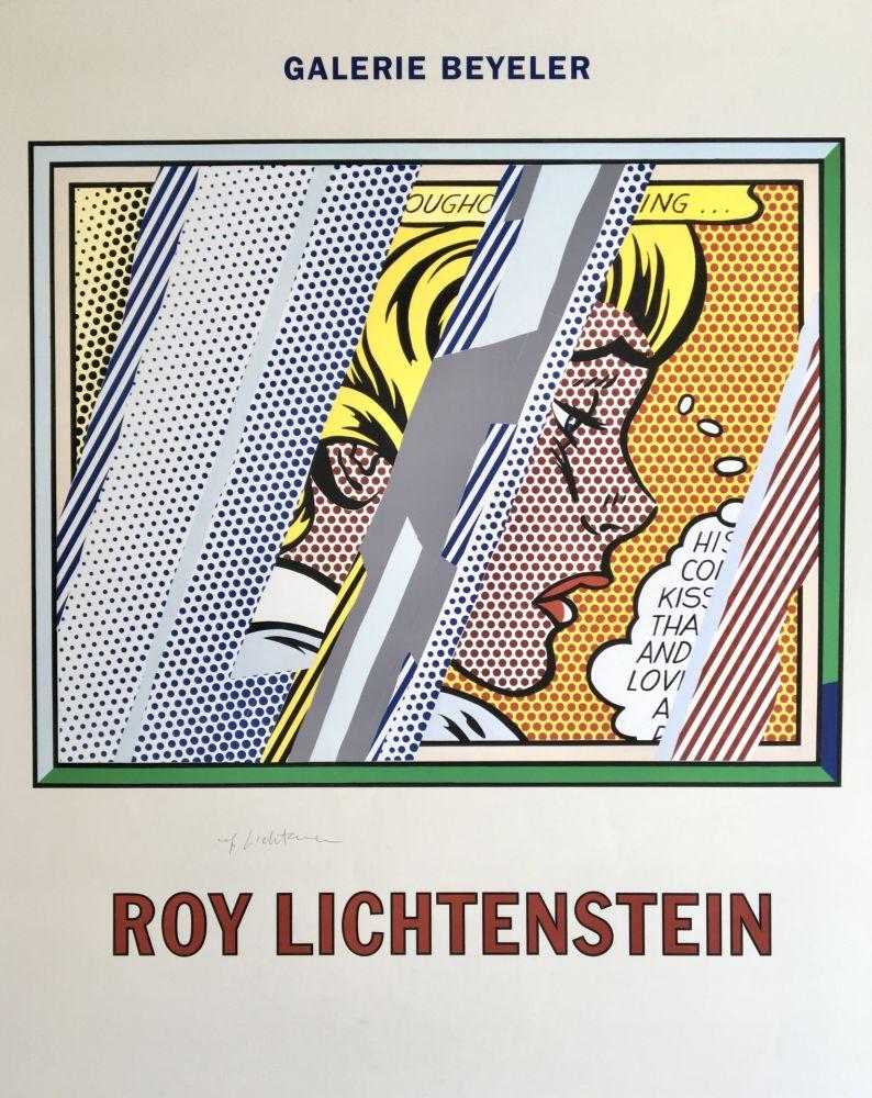 リトグラフ Lichtenstein - Roy Lichtenstein 'Reflections on Girl' 1990 Hand Signed Original Pop Art Poster