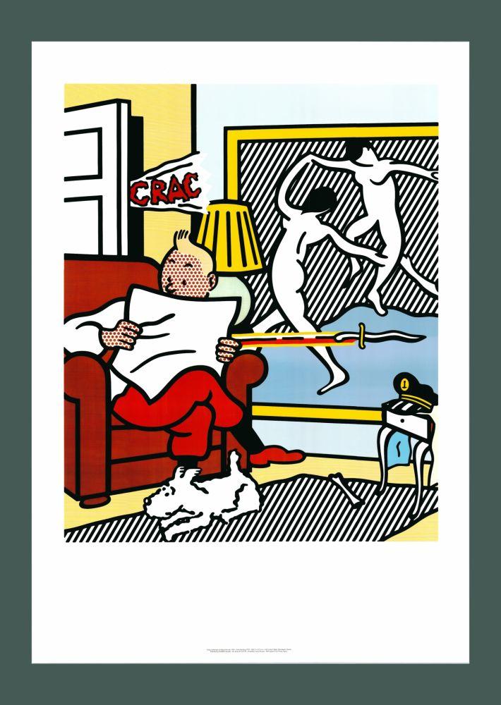リトグラフ Lichtenstein - Roy Lichtenstein 'Tintin Reading' 1994 Original Pop Art Poster