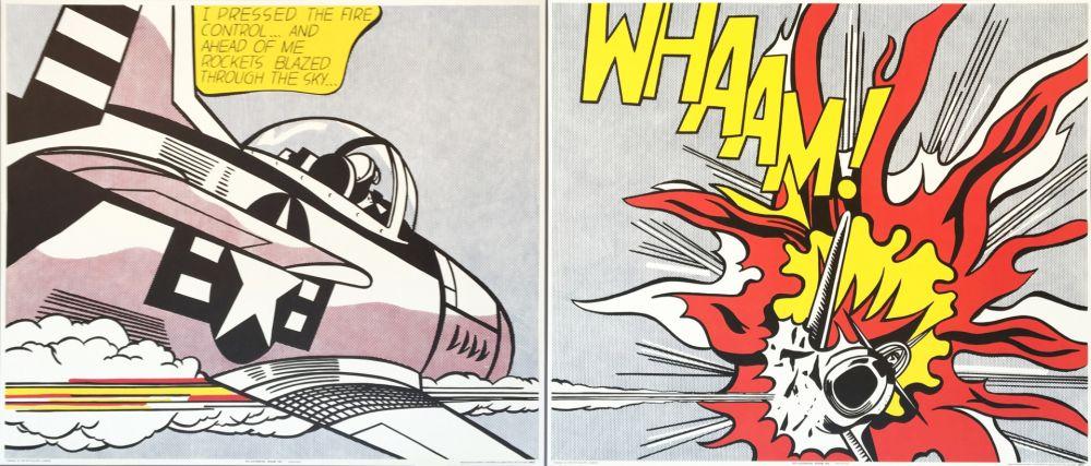 リトグラフ Lichtenstein - Roy Lichtenstein 'WHAAM!' 1986 Original Pop Art Diptych Poster Set
