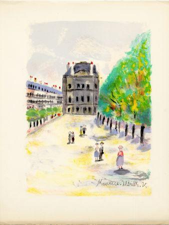 リトグラフ Utrillo - RUE DE RIVOLI. (Pavillon de Marsan). Épreuve pour Maurice Utrillo (Paris, 1955)