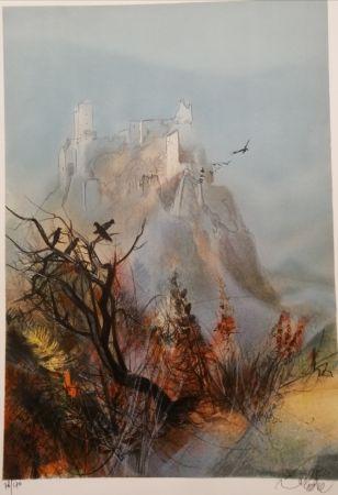 リトグラフ Valadie - Ruines de Merle - Limousin