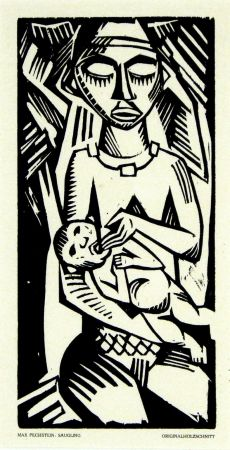 木版 Pechstein - Säugling (Infant)