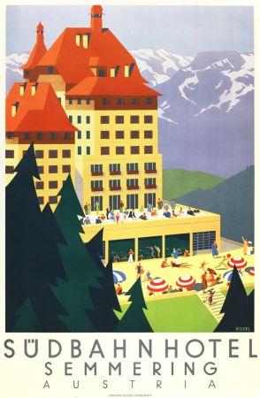 リトグラフ Kosel - Südbahnhotel Semmering Austria