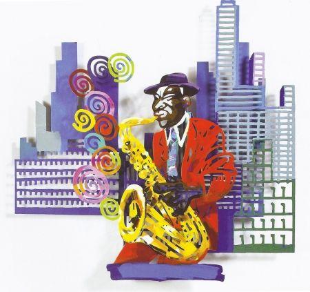 シルクスクリーン Gerstein - Saxophone Player, from Jazz and the City Series
