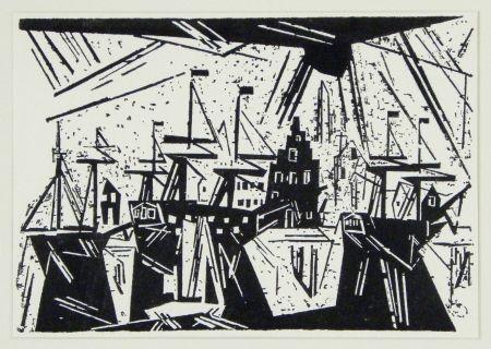 木版 Feininger - Schiffe am Hafenquai