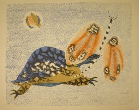 リトグラフ Lurcat - (Schildkröte und Libelle)