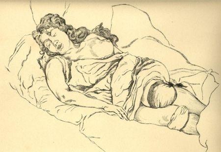 挿絵入り本 Vrieslander - Schlafende Frauen / Sleeping Women