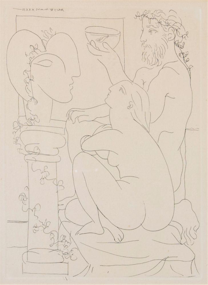 エッチング Picasso - Sculteur avec couple et modele accroupì.