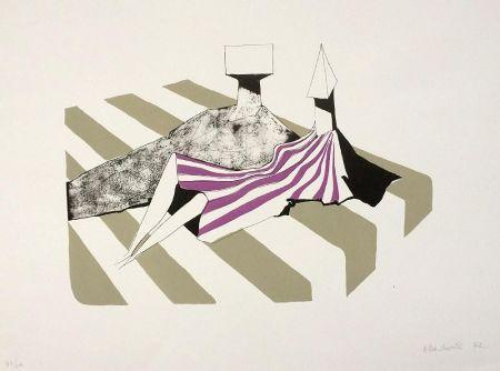 リトグラフ Chadwick - Seated Figures on Stripes II