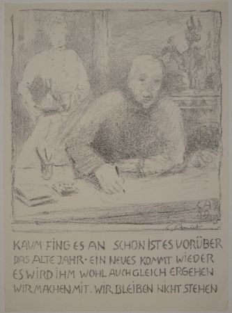 リトグラフ Amiet - Selbstbildnis am Zeichentisch mit Frau
