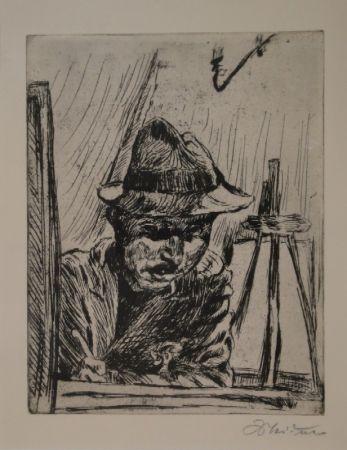 彫版 Meidner - Selbstbildnis (mit Hut im Atelier)