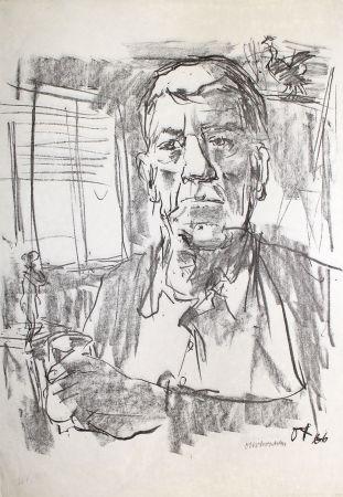 リトグラフ Kokoschka - Selbstbildnis mit Statuette