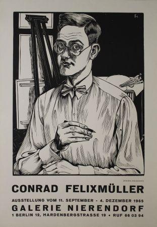 木版 Felixmuller  - Selbstbildnis mit Zeichenstift