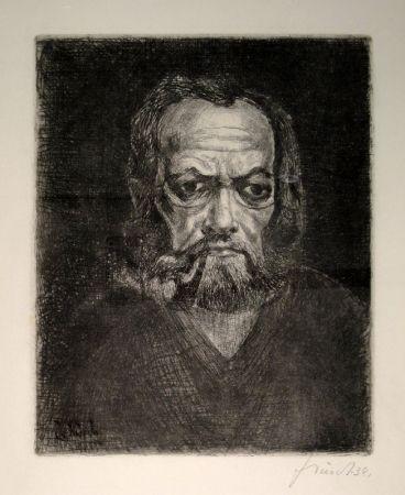 彫版 Schürch - Selbstporträt en face mit Pfeife