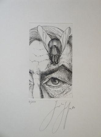 彫版 Grass - Selbstporträt mit Fliege