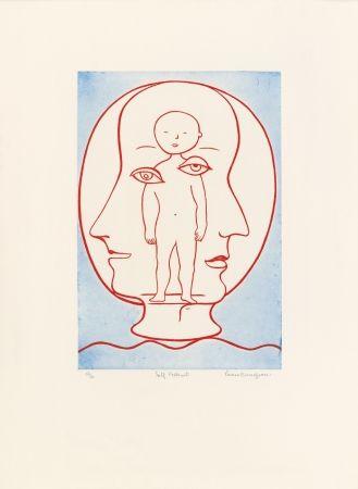 エッチングと アクチアント Bourgeois - Self-Portrait (Weitman 12)