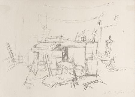 リトグラフ Giacometti - Sellette et tabourets dans l'atelier I
