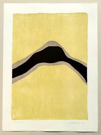 リトグラフ Santomaso - Separazione giallo e nero