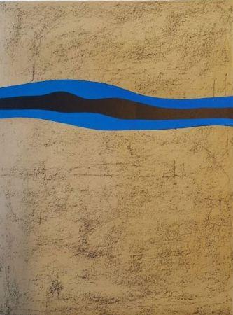 リトグラフ Santomaso - Separazione nero e blu