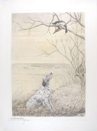 彫版 Danchin - Setter et Canard branche - English Setter and Duck in a tree (Original)