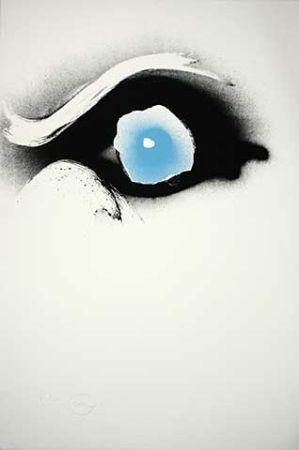 シルクスクリーン Piene - Seuloeil blau/schwarzes Auge