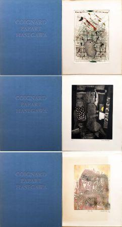 エッチングと アクチアント Hasegawa - SHOICHI HASEGAWA - JAMES COIGNARD - MAX PAPART : HOMME DANS LA VILLE. 3 GRAVURES ORIGINALES