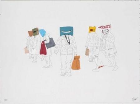 リトグラフ Partegas - Shopping Heads