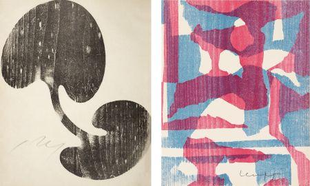 木版 Arp - Siamesisches Blatt : ONZE PEINTRES VUS PAR ARP. 1949. Deluxe.
