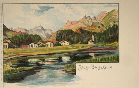 リトグラフ Giacometti - Sils-Baseglia / Samaden / Sils-Maria / Silva Plana mit Piz Margna / Maloja / Der Schafberg